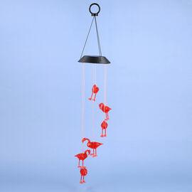 Solar Red Flamingo LED Wind Chime (Size 71.5x12.5 cm)