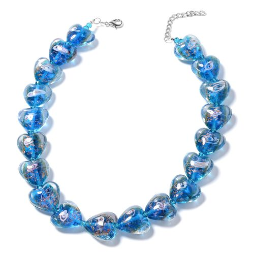 Murano Style Glass (Hrt), Simulated Blue Sapphire Beads Necklace (Size 23 with 2.50 inch Extender) i