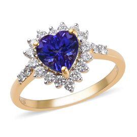 ILIANA 18K Yellow Gold AAA Tanzanite and Diamond (SI/G-H) Heart Ring 2.40 Ct.