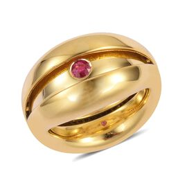 Brand New Concept - Burmese Ruby (Rnd), Natural White Cambodian Zircon Ring in Yellow Gold Overlay S