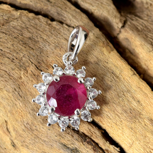 9K White Gold AA  African Ruby (Rnd), Natural Cambodian Zircon Halo Pendant 1.500 Ct.