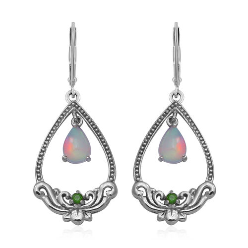 Ethiopian Welo Opal and Russian Diopside Lever Back Drop Earrings in Rhodium Overlay Sterling Silver