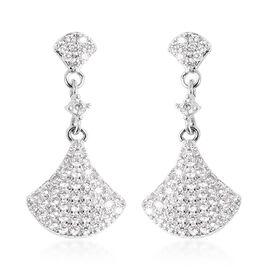 Simulated Diamond Dangle Earrings in Silver Tone