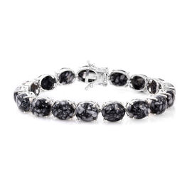Austrian Pinolith (Ovl) Bracelet (Size 7.75) in Platinum Overlay Sterling Silver 67.000 Ct.