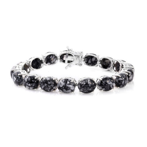 Austrian Pinolith (Ovl) Bracelet (Size 7.75) in Platinum Overlay Sterling Silver 67.000 Ct.