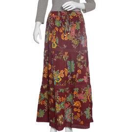 Burgundy and Multi Colour Floral Print Skirt with Lace Detail (Size 100x74 Cm)