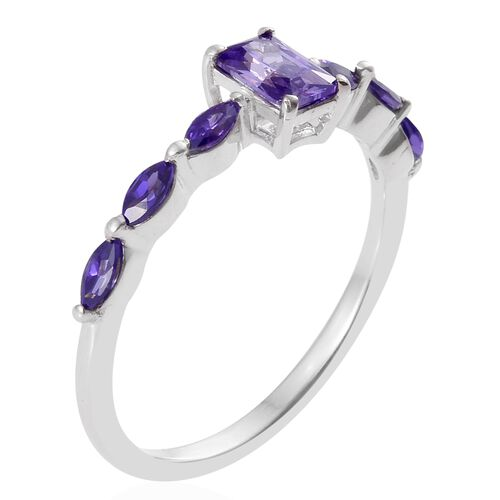 ELANZA AAA Simulated Tanzanite (Oct) Ring in Platinum Overlay Sterling Silver