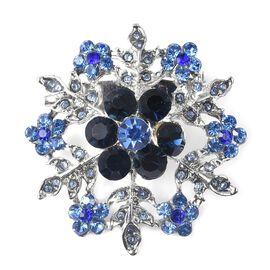 Blue Austrian Crystal (Rnd) Snowflake Brooch in Silver Tone