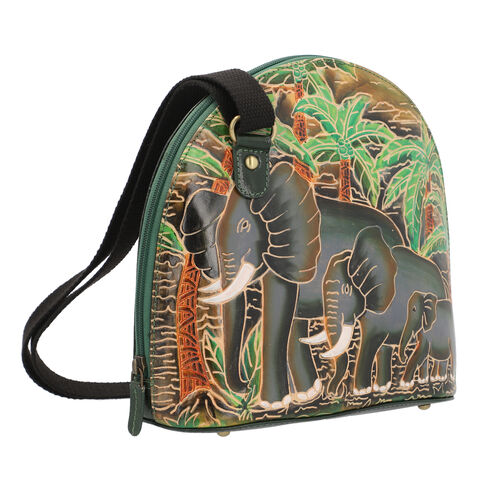 SUKRITI 100% Genuine Leather RFID Protected Elephant Family Round Crossbody Bag with Adjustable Shoulder Strap (Size 25x25.5x11.5cm) - Olive Green