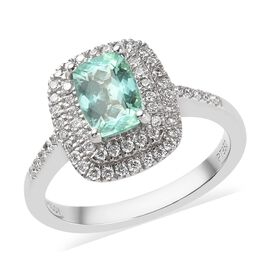 RHAPSODY 950 Platinum AAAA Mozambique Paraiba Tourmaline (Cush 7.5x5.5mm), Diamond (VS/E-F) Ring 1.4