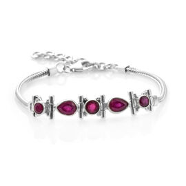 One Time Deal - Hand Made African Ruby Bracelet (Size 7 with 1.5 inch Extender) in Sterling Silver 3.520 Ct, Silver wt 10.13 Gms