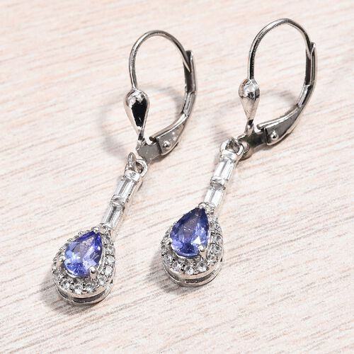 Tanzanite (Pear), Natural Cambodian Zircon Lever Back Earrings in Platinum Overlay Sterling Silver 1.50 Ct.