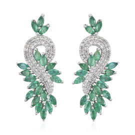 Kagem Zambian Emerald (Mrq), Natural Cambodian Zircon Dangle Earrings (with Push Back) in Platinum O