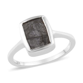 Tucson Special - Meteorite (Bgt 9x7mm) Solitaire Ring in Platinum Overlay Sterling Silver 5.25 Ct.