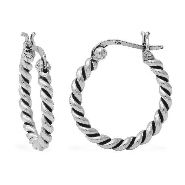 Hoop Earrings in Sterling Silver with Clasp 4.29 Grams