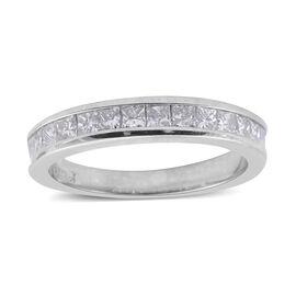14K White Gold (I1-I2/G-H) Diamond (Rnd) Half Eternity Band Ring 0.500 Ct.