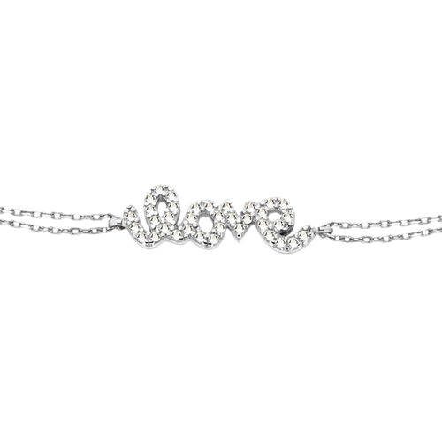 ELANZA AAA Simulated Diamond LOVE Bracelet (Size 7.5) in Sterling Silver