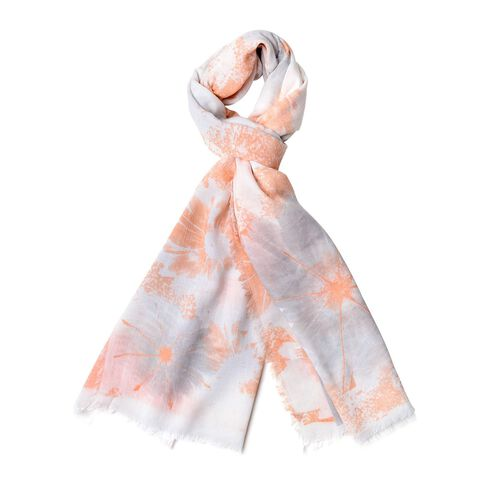 Orange, Grey and White Colour Floral Pattern Scarf with Fringes (Size 180X90 Cm)