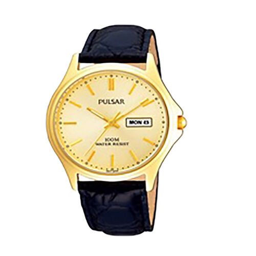 Pulsar Mens Gold Plated Champagne Dial Classic Leather Strap Watch