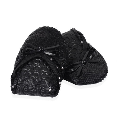 Set of 2 - Foldable Flat Ballet Shoe Each with Zipper Storage Pouch (UK 3-4) - Black and Metallic Rose Gold