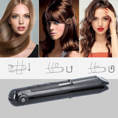 Mini Cordless Hair Straightener - Black