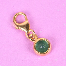 Brazilian Emerald (Rnd 5 mm) Charm in 14K Gold Overlay Sterling Silver 0.50 Ct.