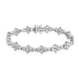 J Francis - Platinum Overlay Sterling Silver Bracelet (Size 7.5) Made with SWAROVSKI ZIRCONIA 22.03