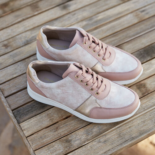 Lotus Stressless Leather Florence Lace-Up Trainers (Size 3) - Pink