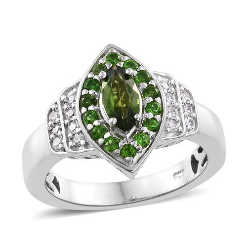 1 Carat Russian Diopside and Natural Cambodian Zircon Ring in Platinum Plated Silver