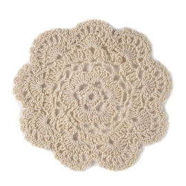 8 Piece Set - 100% Cotton Handmade Crochet Lace, 4 Place Mats and 4 Coasters Beige