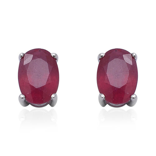 9K White Gold AAA African Ruby (Ovl 7x5mm) Stud Earrings (with Push Back) 2.27 Ct.