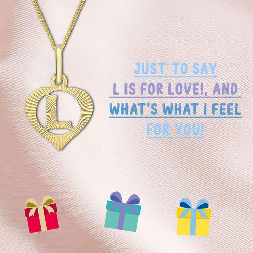 9K Yellow Gold Diamond Cut Heart Initial L Pendant