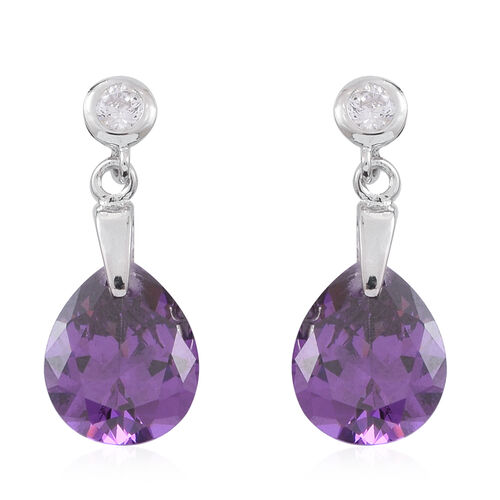 ELANZA AAA Simulated Amethyst (Pear), Simulated White Diamond Earrings (with Push Back) in Rhodium Plated Sterling Silver