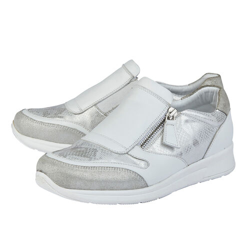 Lotus Stressless Leather Alicante Trainers (Size 5) - White and Silver