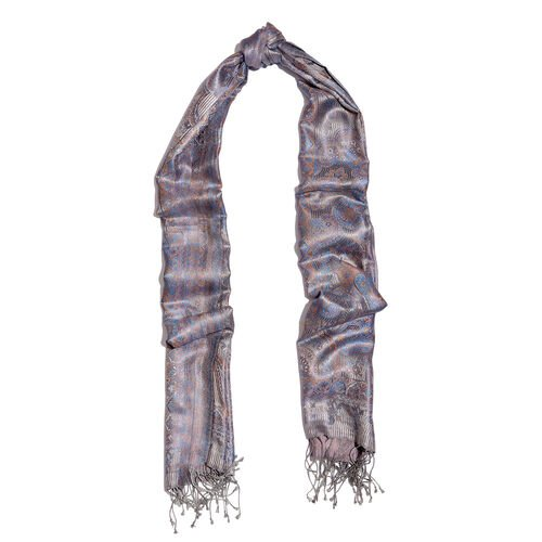 SILK MARK- 100% Superfine Silk Grey and Multi Colour Jacquard Jamawar Scarf with Fringes (Size 190x70 Cm)