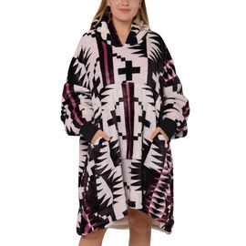 Tribal Pattern Flannel Blanket Hooded Sweatshirt (Size 85x90cm) with Long Sleeves - Light Pink, Purp