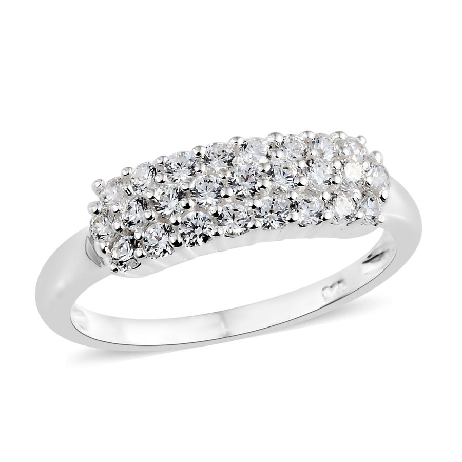 d2c463057 J Francis Sterling Silver (Rnd) Cluster Ring Made with SWAROVSKI ZIRCONIA  ...