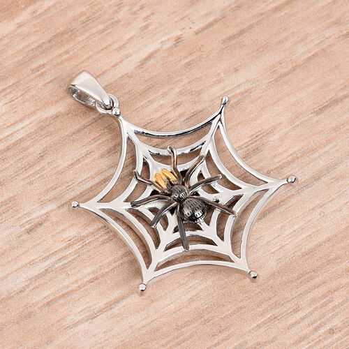 Platinum, Yellow Gold and Black Overlay Sterling Silver Spider Web Pendant