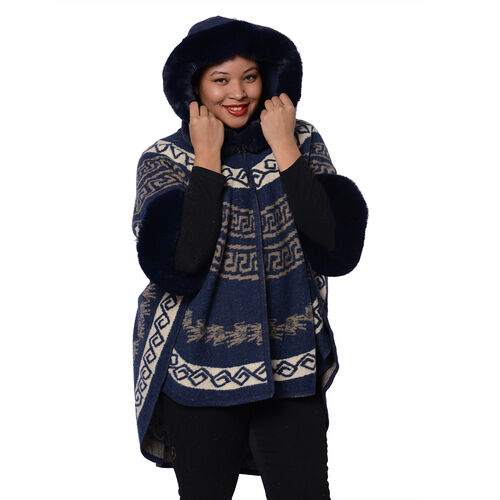 Half Round Shape Multi-Patterned Blanket Wrap with Faux Fur Collar (One size, L: 75cm) - Navy