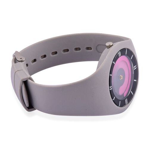 STRADA Japanese Movement Fuchsia Colour Dial Watch with Stainless Steel Back and Grey Silicone Strap
