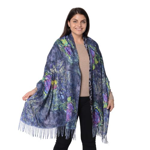 Reversible Digital Printed Leopard and Butterfly Pattern Scarf with Tassel (Size 70x180 Cm) - Grey a