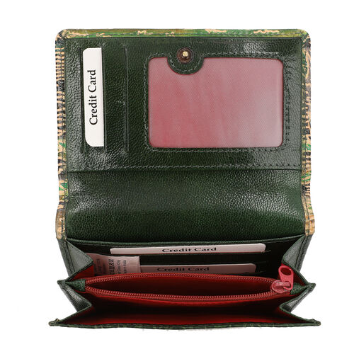 SUKRITI 100% Genuine Leather RFID Protected Elephant Family Wallet (Size 11.5x20.5x2.5cm) - Olive Green