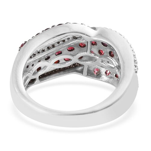 Arizona Anthill Garnet (Rnd), Natural Cambodian Zircon Ring in Platinum Overlay Sterling Silver 2.400 Ct.