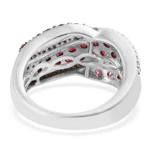 Arizona Anthill Garnet (Rnd), Natural Cambodian Zircon Ring in Platinum Overlay Sterling Silver 2.400 Ct.
