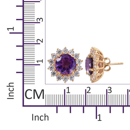 Amethyst (Rnd 10 mm), Natural Cambodian Zircon Stud Earrings (with Push Back) in 14K Gold Overlay Sterling Silver 10.000 Ct.