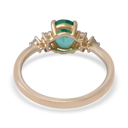 9K Yellow Gold AAA Zambian Emerald (Oval 8X6mm) and Diamond (I3/G-H) Ring 1.37 Ct.