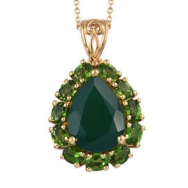5.75 Ct Verde Onyx and Russian Diopside Halo Pendant with Chain in Gold Plated Sterling Silver