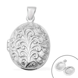 Engraved Locket Pendant in Sterling Silver 9.24 Grams