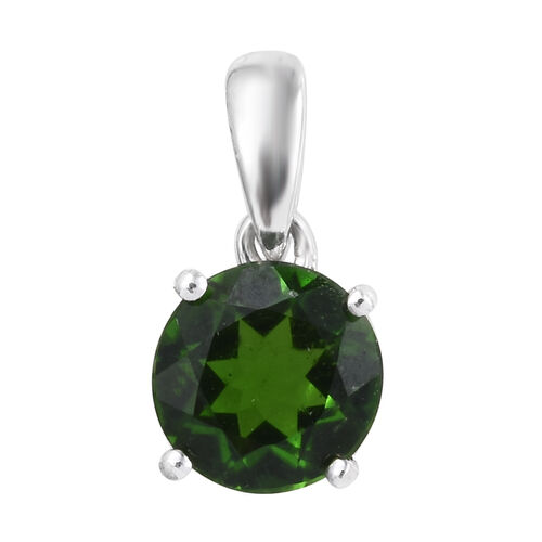 9K White Gold AAA Russian Diopside Solitaire Pendant 0.85 Ct
