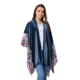 Teal and Multi Colour Flower Embroidery Lace on Sleeves Kimono (Size 91x80 Cm)